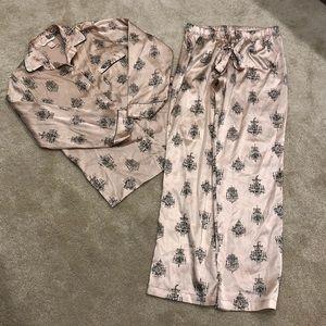 Victoria's Secret Blush Pink and Black Pajama Set